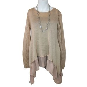 Listicle Beige Handkerchief Hem Sweater